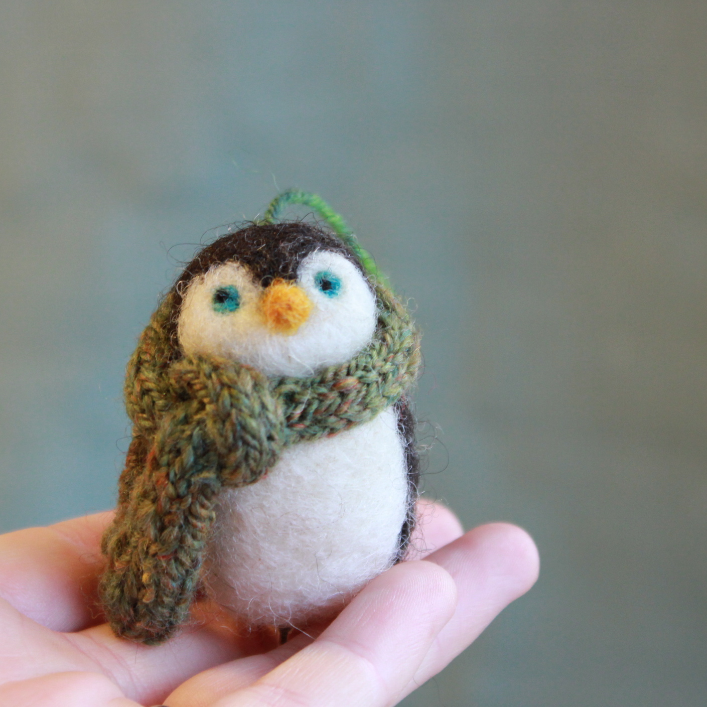 Penguin Christmas Ornament in a Handspun Hand-knit Scarf ...