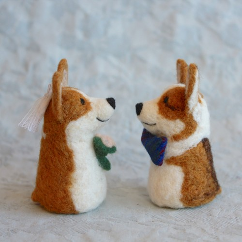 custom Corgi cake toppers for a special wedding day! Handcrafted by Fiber Friends